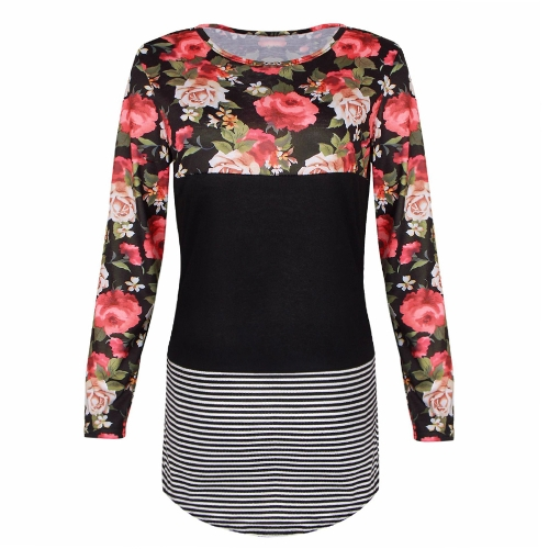 Fashion Women Blouse Floral Striped Print Long Sleeve O-Neck Casual Slim T-Shirt Tops Shirts Black