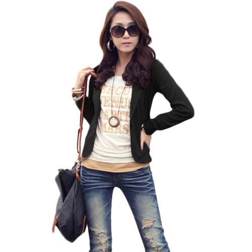 Traje de chaqueta de negocios de un botón de las mujeres de manga larga de oficina casual chaqueta de abrigo de las señoras del cortocircuito Outwear
