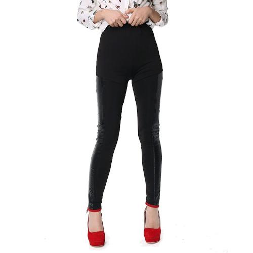Sexy Frauen Dünne Gamaschen Leder Splice Elastische Hohe Taille Casual Cool Skinny Bleistift Hosen Hosen