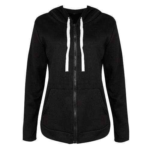 Moda damska bluza z kapturem kurtka z długimi rękawami Kieszeń z zamkiem Kurtka z kapturem czarna / czerwona / ciemnoszara