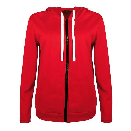 Sudaderas con capucha de las mujeres de moda sudadera con capucha de manga larga de bolsillo con cremallera UP chaqueta con capucha prendas de vestir exteriores negro / rojo / gris oscuro