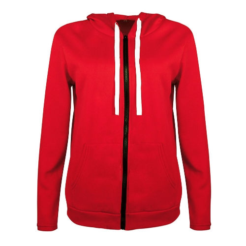 Mode Frauen Hoodies Sweatshirt Mantel Solide Langarm Tasche Zip UP Kapuze Oberbekleidung Jacke Schwarz / Rot / Dunkelgrau