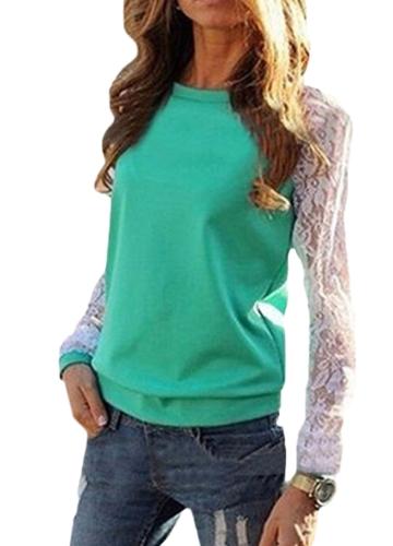 Женщины Кружева Твердые рубашки Вязание крючком Сплав Тонкие повседневные основные топы Повседневная блузка