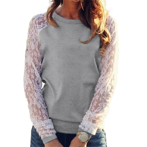 Las mujeres camisas de encaje sólido de ganchillo Empalme manga larga Slim Tops casuales Blusa casual