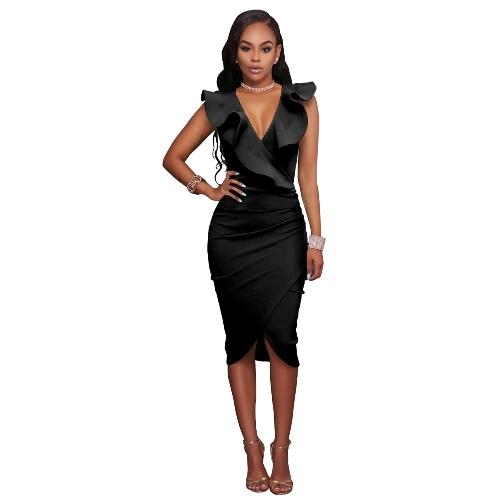 Sexy Frauen Midi Kleid mit Rüschen tiefem V-Ausschnitt ärmellose asymmetrische feste schlanke, figurbetonte geraffte Kleid
