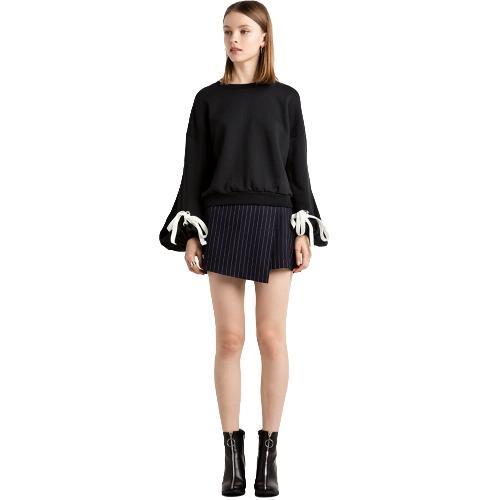 Las mujeres sueltan el paño grueso y suave cordones vendaje cuff cuello redondo de manga larga Casual Sweatershirt Pullover negro