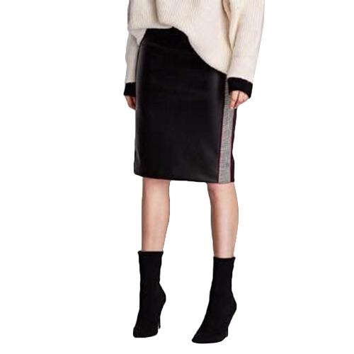 Mode Frauen PU Leder Röcke Houndstooth Seite Fleece Mantel Bleistiftrock
