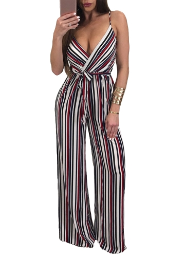 ffae024896aa Sexy Women Slip Jumpsuit Deep V Neck Floral Striped Print Spaghetti Strap Wide  Leg Pants Slim