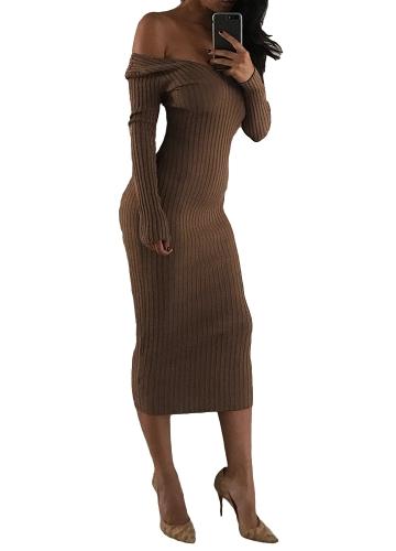 Vestido Midi de las mujeres atractivas cuello en V profundo fuera del hombro manga larga vestido de bodycon delgado acanalado sólido fiesta Clubwear