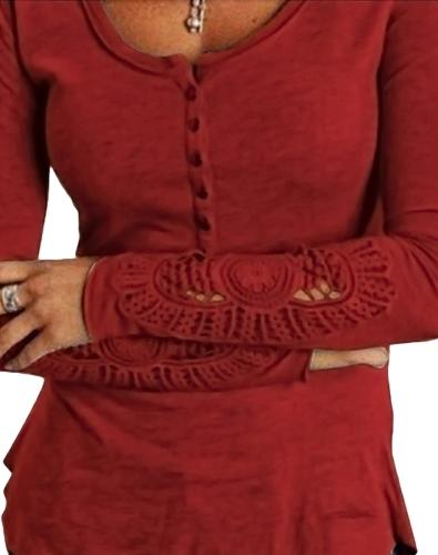 Случайные Женщины Блузка Вязание крючком Кружева Сплетение Длинные рукава Круглые Шеи Полые Твердые Футболки Топы фото