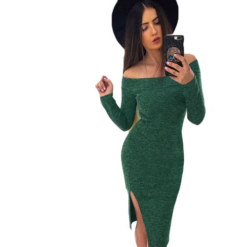 New Winter Sexy Women Bodycon Off Shoulder Dress Slash Neck Long Sleeve Slit Hem Party Clubwear Vestido Midi