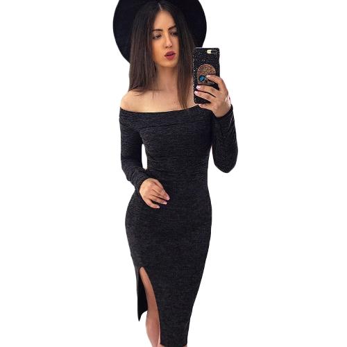 New Winter Sexy Women Bodycon Off Shoulder Dress Slash Neck Long Sleeve...