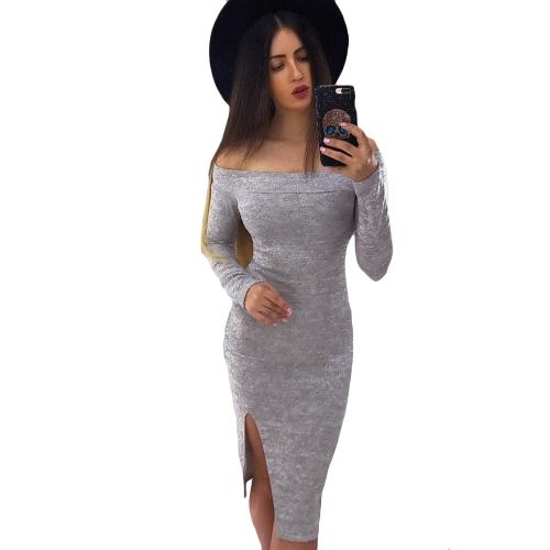 Nuevo vestido de Middress de las mujeres atractivas del verano Bodycon Off del hombro Slash Neck manga larga del dobladillo del partido del Hem Clubwear