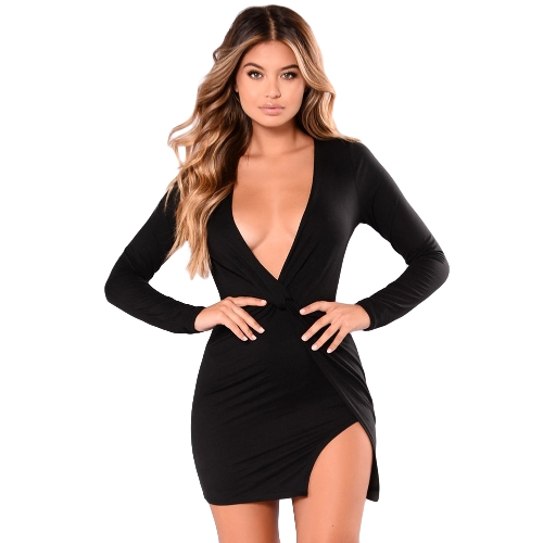 New Sexy Women Deep V-Neck Mini Dress Twist Knot Side Slit Wraparound Estilo Long Sleeve Party Clubwear Vestido Preto