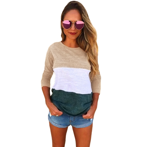 Camiseta de mangas largas de las mujeres empalme del bloque del color O Neck Dropped Shoulder Casual Tees Pullovers Tops