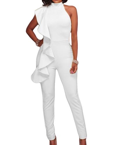 Новый модный женский боксерский рюкзак с холодным плечом Комбинезон с высоким рукавом без рукавов комбинезон тонкий партии клуба боди комбинезон