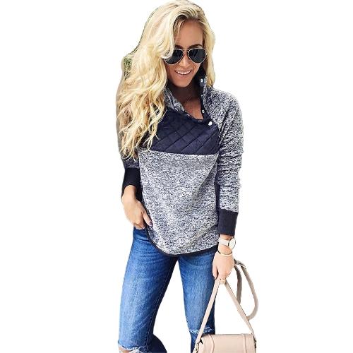Sudadera con capucha de lana para mujeres, cuello alto, botón de manga larga, sudadera con capucha casual, top blanco / azul oscuro