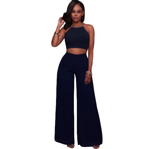 Conjunto de dos piezas de mujer Cami Halter Strap Crop Top vendaje pantalones de pierna ancha Set Party Nightclub Outfit Dark Blue / Pink / White
