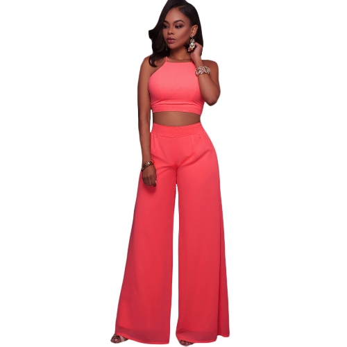 Conjunto de dos piezas de mujer Cami Halter Strap Crop Top vendaje pantalones de pierna ancha Set Party Nightclub Outfit Dark Blue / Pink / White