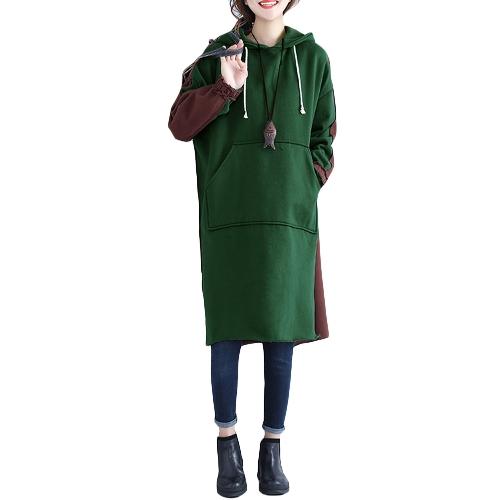 Neue Frauen Lange Kapuzenpulli Farbblock Langen Ärmeln Split Beiläufige Lose Hoody Kleid Pullover