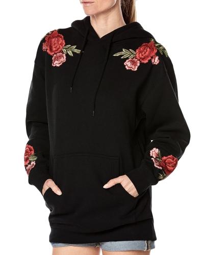 Neue Frauen Kapuzenpulli Floral Stickerei Langen Ärmeln Taschen Beiläufige Lose Hoodies Top Pullover