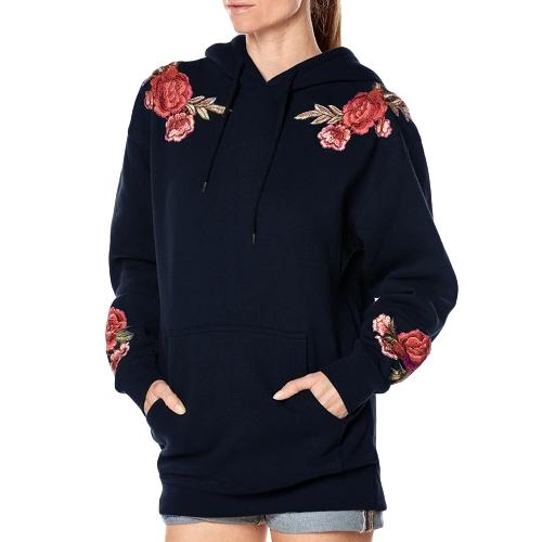 Nuevas mujeres sudadera con capucha floral bordado manga larga bolsillos ocasionales sudaderas sueltas Top Pullover