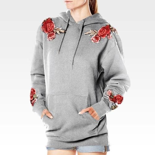 Новые женщины с капюшоном Толстовка Цветочные вышивки Длинные рукава Карманы Повседневный Loose Hoodies Top Pullover фото