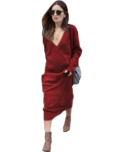 Las mujeres de invierno Maxi Loose Knitted Sweater Dress Deep V cuello de manga larga Ladies Knitwear Casual Jumper Dress