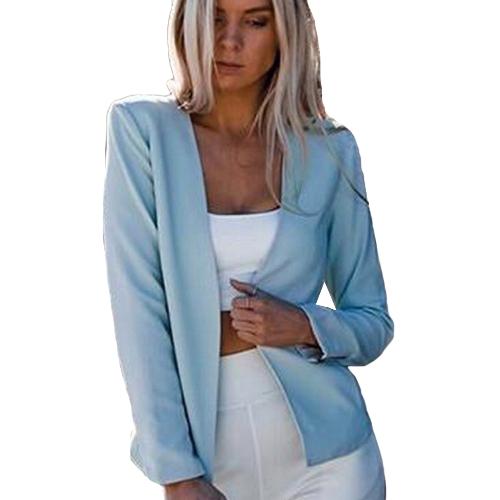 Outono Mulheres Slim Fit Blazer Jacket Mangas compridas Aberta Fato frontal Casual Casual Work Wear Black / White / Blue
