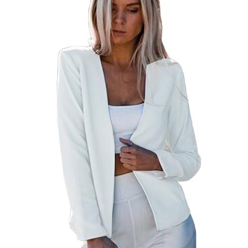 Las mujeres del otoño Slim Fit Blazer Chaqueta mangas largas traje delantero abierto Casual Abrigo trabajo desgaste negro / blanco / azul