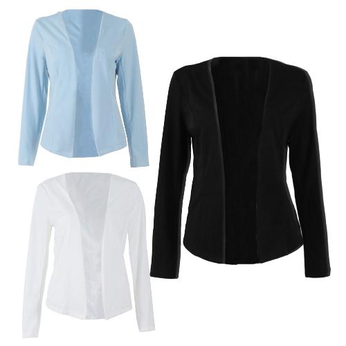 Las mujeres del otoño Slim Fit Blazer Chaqueta mangas largas traje delantero abierto Casual Abrigo trabajo desgaste negro / blanco