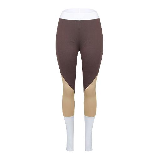 Mulheres Calças de desporto Blocos de cor Calças de cintura de alta cintura Exercícios de ginástica Calças magras Calças Café
