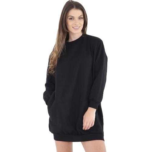 Mujeres de la manera llanura holgada sudadera larga O cuello manga larga bolsillos señoras de gran tamaño Jumper Pullover Shirtdress