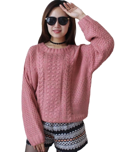 New Women Knitted Sweater Twist Cor sólida manga comprida Loose Warm Jumper Pullover Malhas Pink