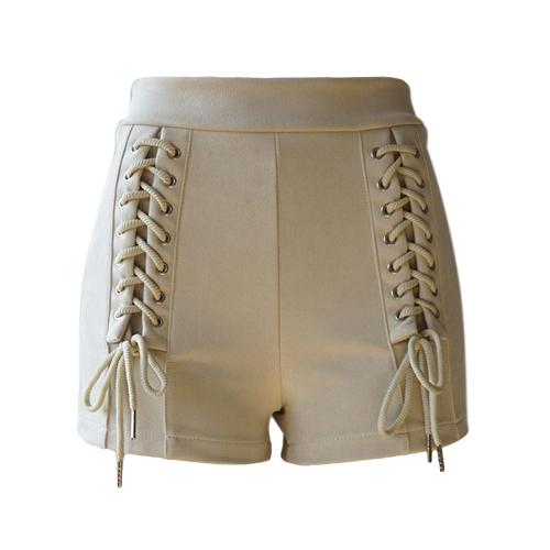 Nuevas mujeres atractivas Faux Suede Shorts con cordones Vendaje de cintura alta sólido Slim Hot Pants Beige / Dark Blue