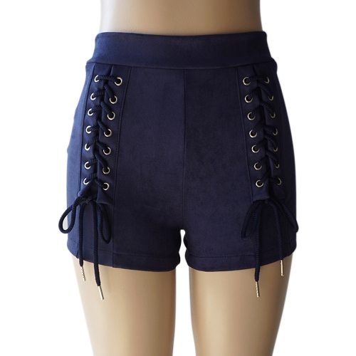 New Sexy Women Faux Suede Shorts Lace-Up Bandage High Waist Solid Slim Calças quentes Bege / Dark Blue