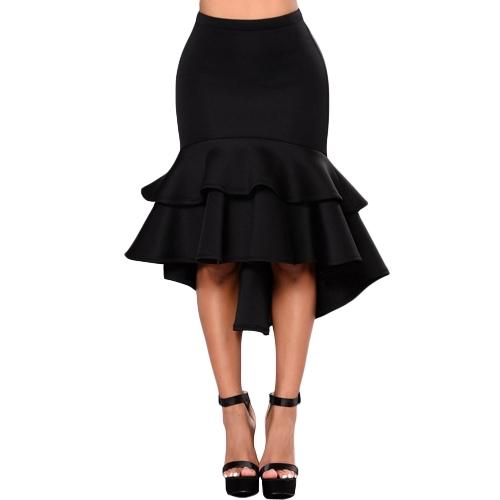 Plus Size Kobiety Ołówek Spódnice Falbany Warstwa Nieregularne Hem Eleganckie Biuro Lady Party Memaid Bodycon Spódnica Czarny / Żółty