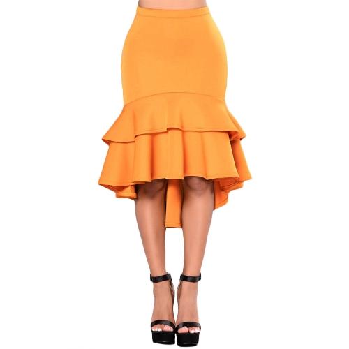 Tallas grandes Mujeres Lápiz Faldas Ruffles Capa Irregular Dobladillo Elegante Oficina Señora Fiesta Memaid Bodycon Falda Negro / Amarillo
