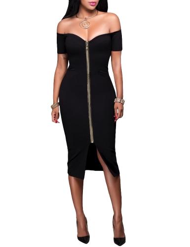 Mujeres atractivas del hombro Bodycon Vestido de manga corta sólido Slim Split Midi Dress Party Clubwear Negro / Gris