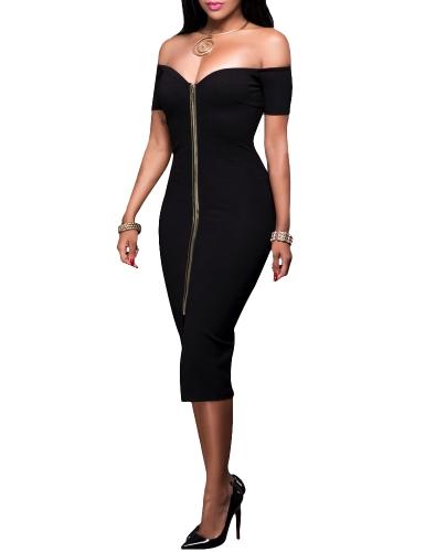 Sexy Women Off Shoulder Bodycon Dress Short Sleeve Solid Slim Split Midi Dress Party Clubwear Black/Grey