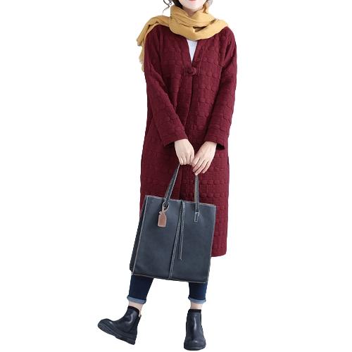 Mulheres de inverno Casaco comprido Casacos de manga comprida Revestimento quente Casacos Casacos Casacos Borgonha / Preto / Cinza