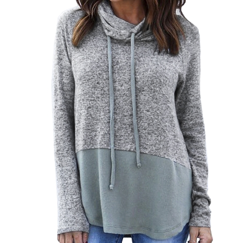 Women Warm Sweatshirt Drawstring High Neck Pulsover de manga comprida Loose Casual Jumper Top Grey