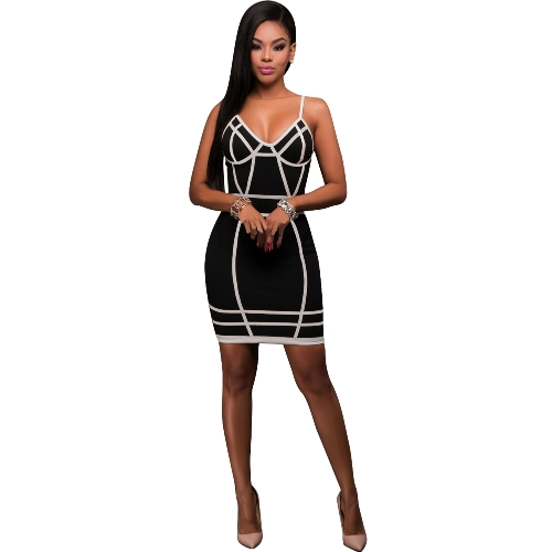 Sexy Cami Mini Abito Abito a contrasto Stripe Stampa Backless Zipper Nightclub Party Bodycon Strap Vestito a matita nero