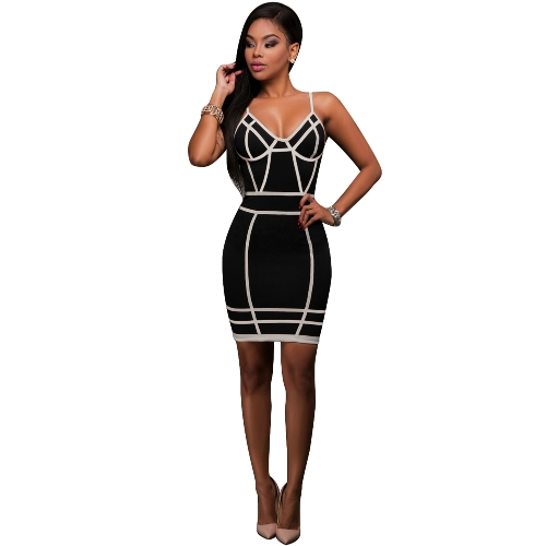 Sexy Women Cami Mini-Vestido Contrast Stripe Print Backless Zipper Nightclub Party Bodycon Strap Pencil Dress Black
