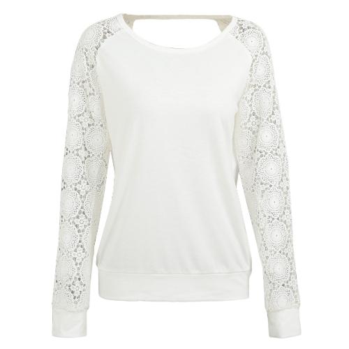 Camisa de ganchillo de las mujeres mangas largas ahueca hacia fuera el jersey ocasional flojo camiseta sin respaldo superior negro / beige / gris