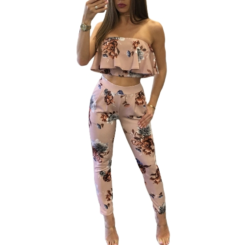 Casual Women Suit Sexy Two-piece Outfits Strapless Crop Top Long Pants Floral Print Ruffles Bodycon Set Pink