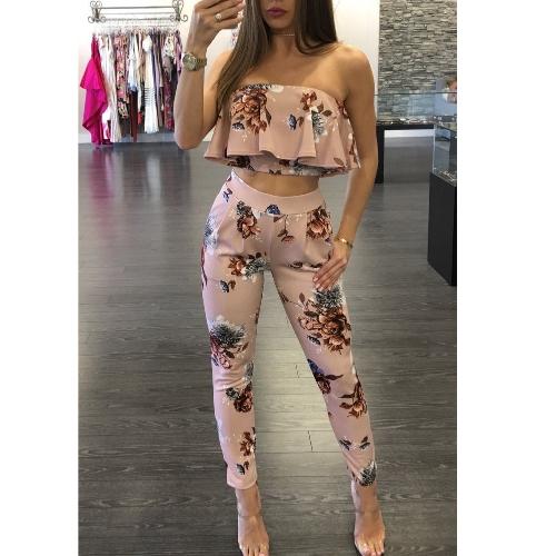 TOMTOP / Traje de mujer casual Trajes de dos piezas sin tirantes Sin tirantes Crop Top Pantalones largos Tocados de estampado floral Bodycon Rosa