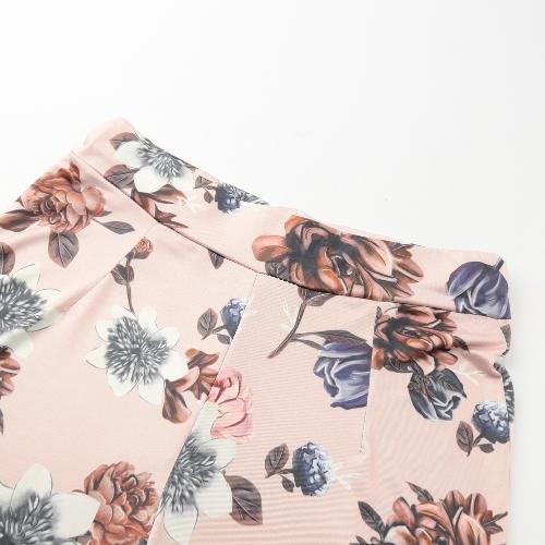 Traje de mujer casual Trajes de dos piezas sin tirantes Sin tirantes Crop Top Pantalones largos Tocados de estampado floral Bodycon Rosa