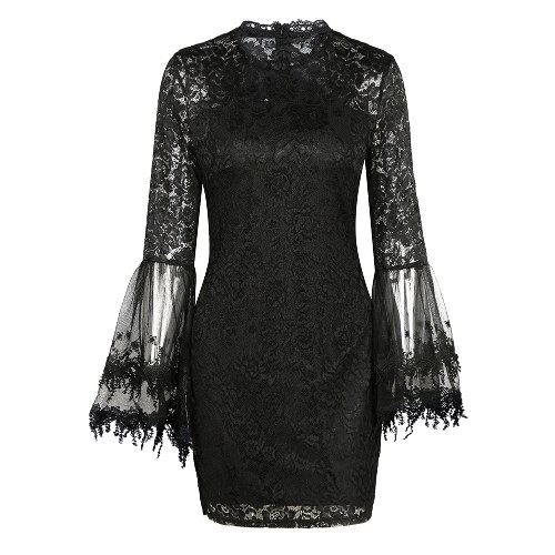 Nuovo vestito sexy aderente dal bodycon del manicotto del chiarore del merletto floreale delle nuove donne