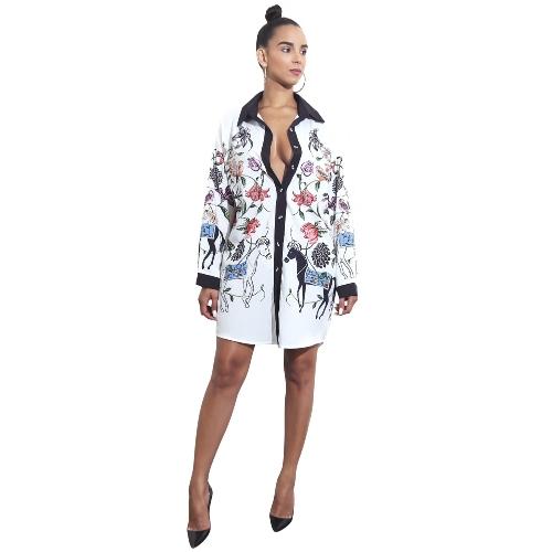Las nuevas mujeres del otoño camisa de impresión floral ocasional visten los botones de manga larga túnica Vintage Boho Beach vestido de fiesta
